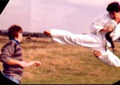 Flying side kick. Circa. 1987